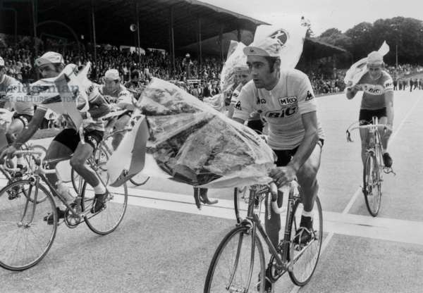 Luis Ocana at End of France Cycling Race July 1943 (b/w photo)