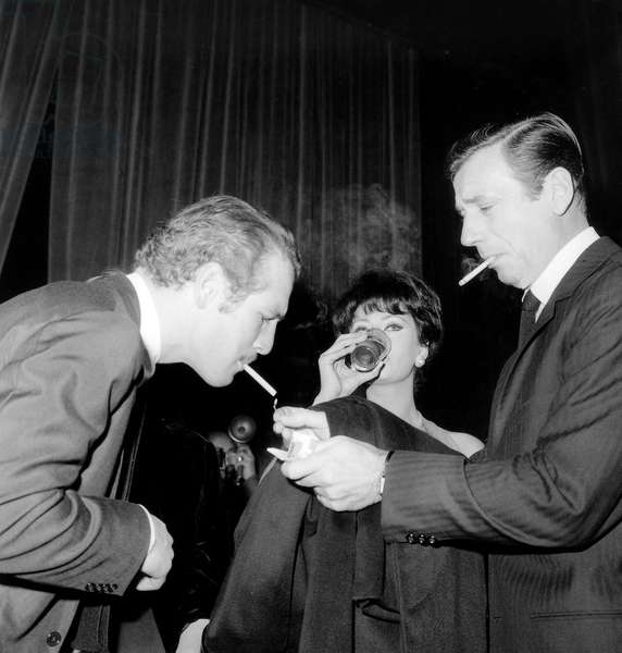 Paul Newman, Sophie Loren, Yves Montand during Cocktail For Film House of Lady L November 24, 1964 (b/w photo)