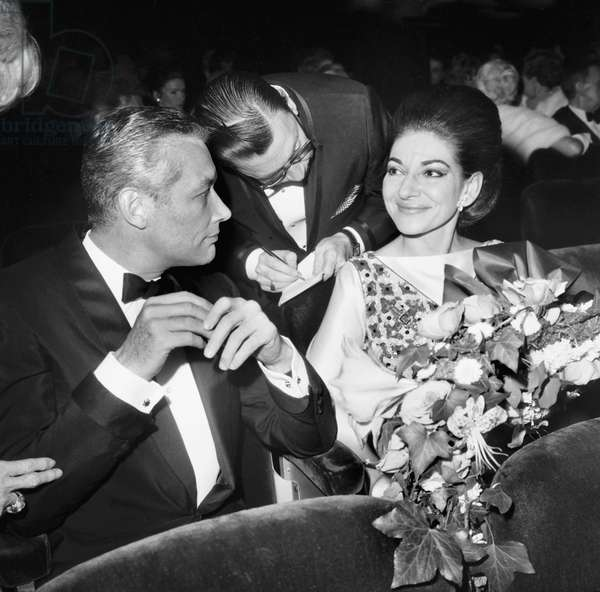 Sandy Bertrand and Maria Callas at The 75Th Birthday of Maxim'S Restaurant in Paris October 19, 1968 (b/w photo)