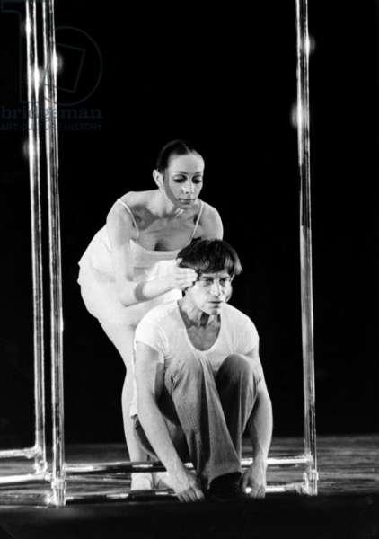 Jean Babille And Elisabeth Platel In Le Ballet 'Life' By Maurice Bejart On June 8, 1979 At L'Opera De Paris. (b/w photo)