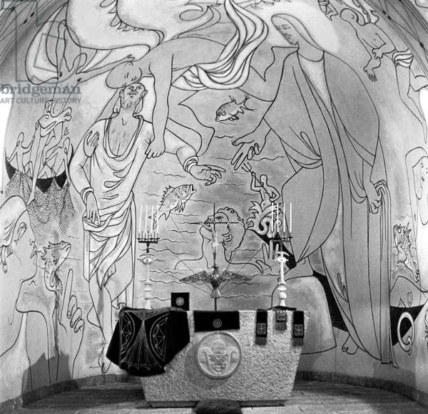 Painting By Jean Cocteau in Saint Peter Chapel in Villefranche-Sur-Mer, Made in 1956