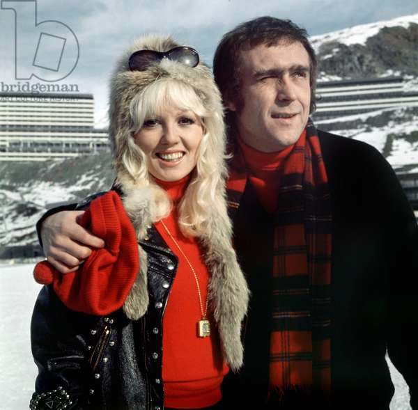 French Actress Mylene Demongeot and Marc Simenon at Winter Sports January 10, 1972 (photo)