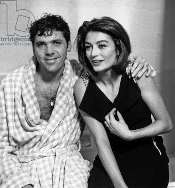 Pierre Barouh and Anouk Aime on Set of The Film A Man and A Woman By Claude Lelouch in The French Studio, December 30, 1965 (b/w photo)