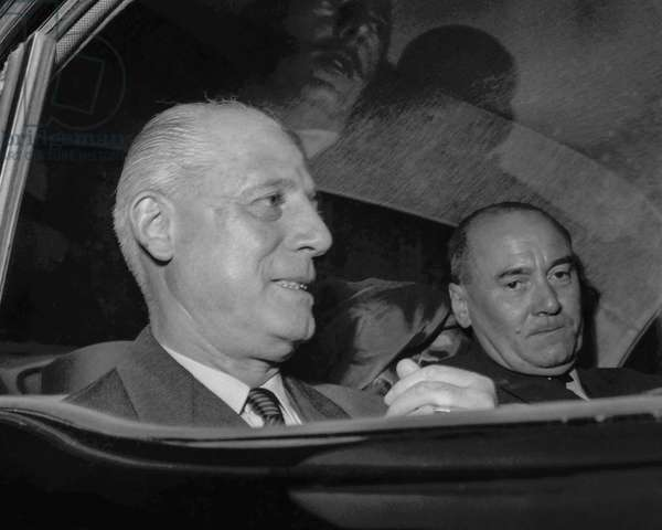 Algerian war : French generals Raoul Salan and Edmond Jouhaud leaving Matignon Hotel after meeting with DeGaulle, Paris, June 3, 1958 (b/w photo)
