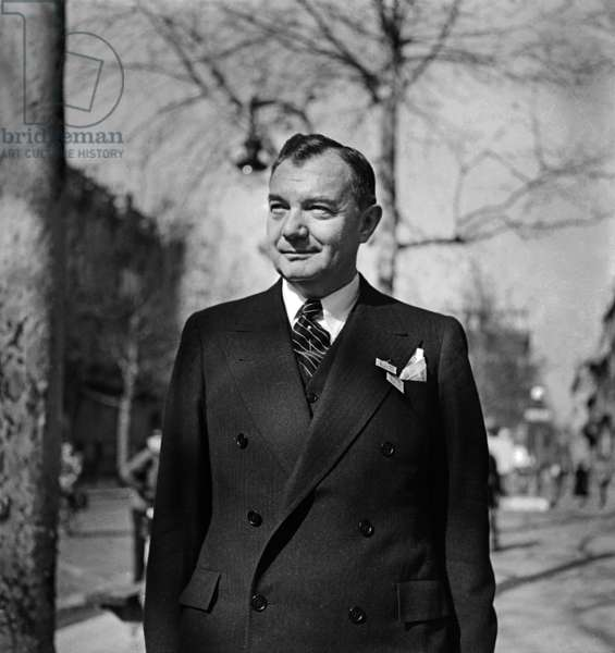 Robert Houghwout Jackson, Chief United States Prosecutor at The Nuremberg Trials, here in Paris, on March 30, 1946 (b/w photo)