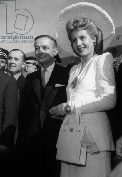 Eva Evita Peron (1919-1952) With French President Georges Bidault in France in 1947 (b/w photo)