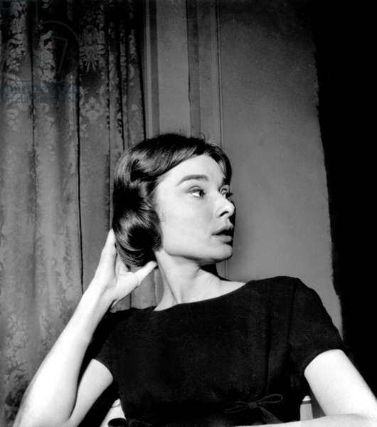 Audrey Hepburn on Set of Film Love in The Afternoon in Boulogne Studios (France) August 20, 1956 (b/w photo)
