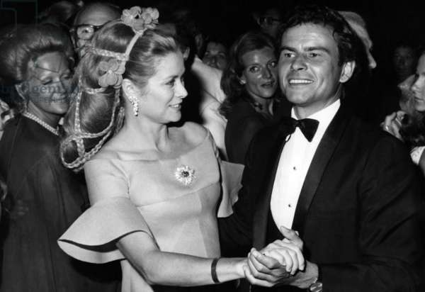 "Princess Grace Of Monaco Dancing With Horst Buchholz At The Gala Gives To The Benefit Of The Monegasque Red Cross, On The Terrace Of The Casino De Monte Carlo, August 7, 1972 (She Wars The Clip ""Great Daisy"" Platinum, Osmior, Brilliant Cut Diamonds, Faceted Sapphires De Van Cleef And Arpels) (b/w photo)"