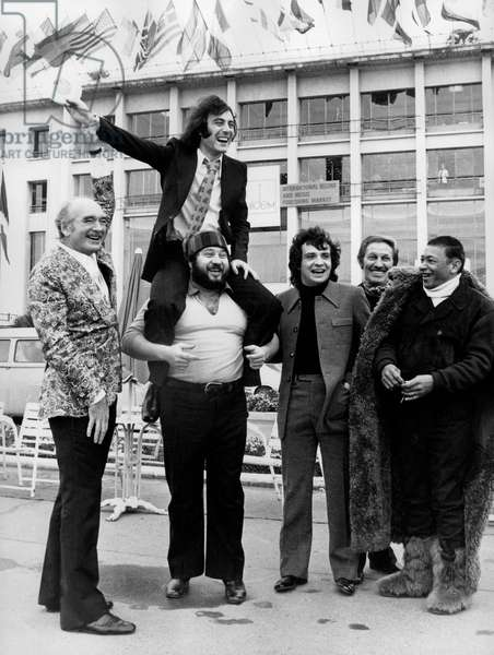 Michel Delpech gets his gold disc - Delpech with Eddie Barclay, Michel Sardou, Jean Sablon and Henri Salvador, January 19th 1972 (b/w photo)