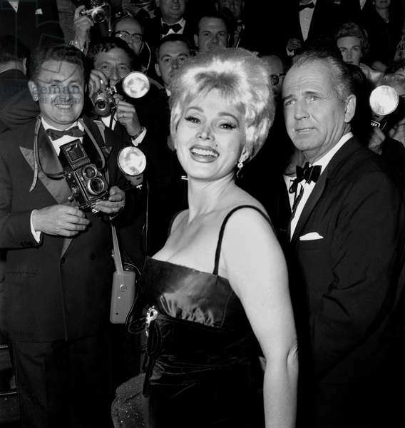 Zsa Zsa Gabor at the Cannes Film Festival, July 1959 (b/w photo)