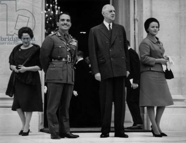 L-R Yvonne De Gaulle, The King Hussein of Jordan, The French President Charles De Gaulle and the Queen Mouna, during A Visit in Paris at The Elysee Palace, 1964 (b/w photo)