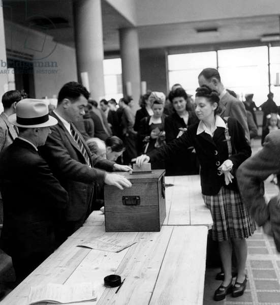 Cantonal Elections in Puteaux France September 23, 1945 (b/w photo)