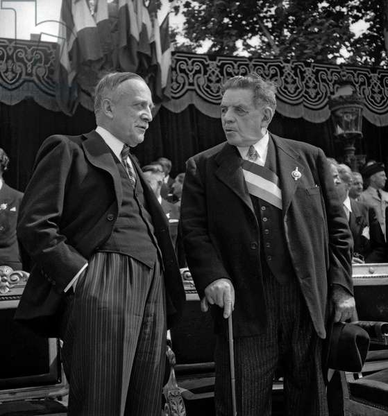 National Day in Paris on July 14, 1949 : French politicians Henri Queuille and Edouard Herriot attending the parade (b/w photo)