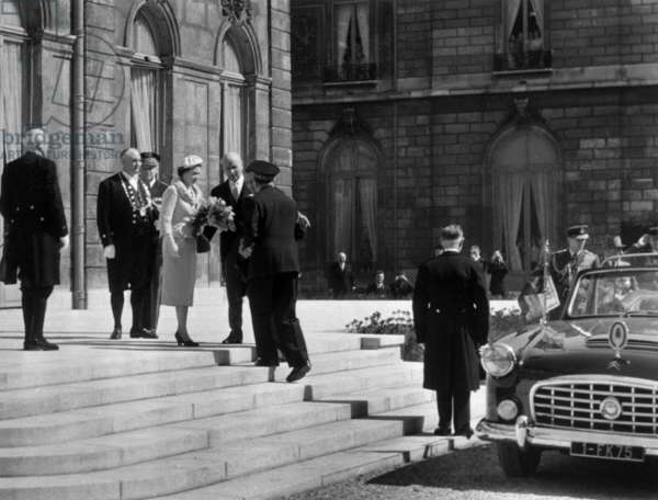 Queen Elizabeth Ii of England in Versailles, France, April 8, 1957 (b/w photo)