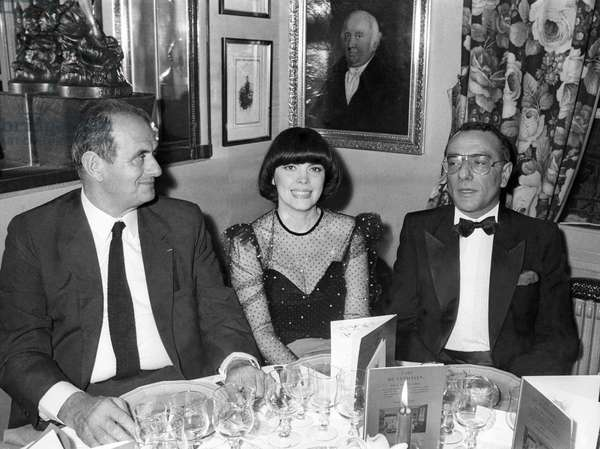 Paul Bocuse, Mireille Mathieu and Yves Mourousi  at the 10th Anniversary of the Restaurant