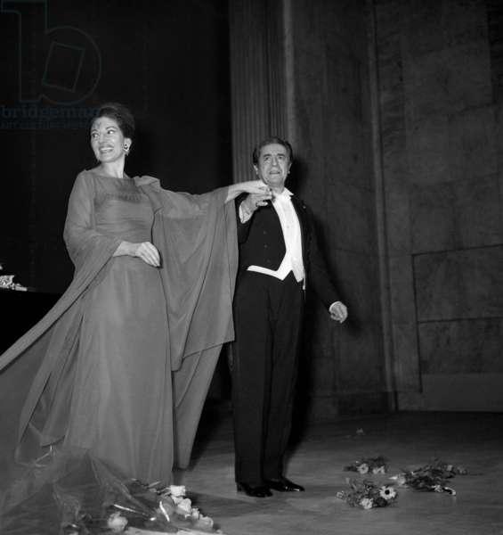 Maria Callas and Giuseppe Di Stephano, Recital of Maria Callas, Theatre des Champs Elysees, Paris, 7 December 1973 (photo)