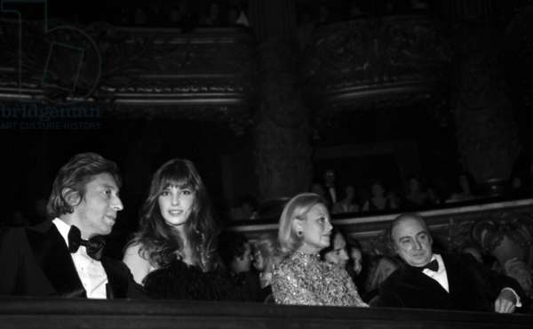 "Serge Gainsbourg, Jane Birkin, Michele Morgan and Gerard Oury  at the Premiere of the film ""The Godfather"", Paris Opera House on 17 October 1972 (photo)"