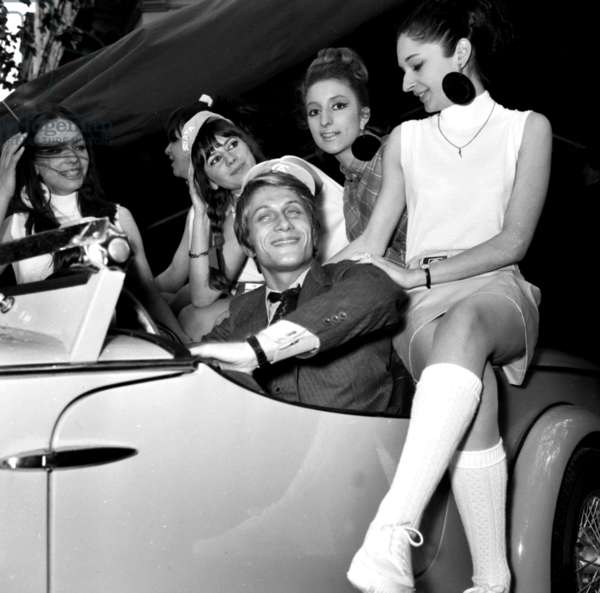 """French Singer Jacques Dutronc for launching of """"Siata Spring"""" car, 25 May 1967 (photo)"""