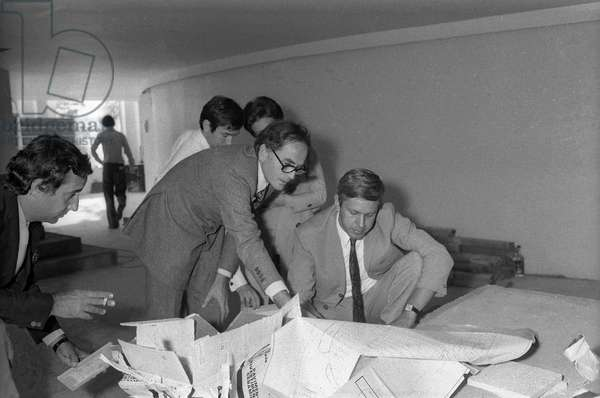 Pierre Cardin during the building of the Espace Cardin, Paris, 1970 (b/w photo)