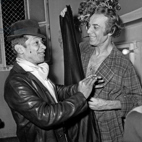 Henri Salvador congratulating Georges Guetary after his the Premiere in Bobino, Paris, 16 June 1970 (photo)