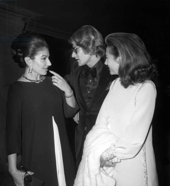 "Maria Callas, Yves Saint Laurent and Helene Rochas at the screening of the film ""Phedre"", Paris Opera House, 15 October 1968 (photo)"