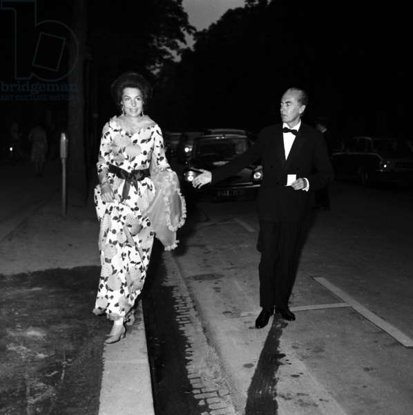 Liliane and Andre Bettencourt arriving at the Gala for disabled children by Marle Dietrich, Paris, 19 June 1973 (photo)