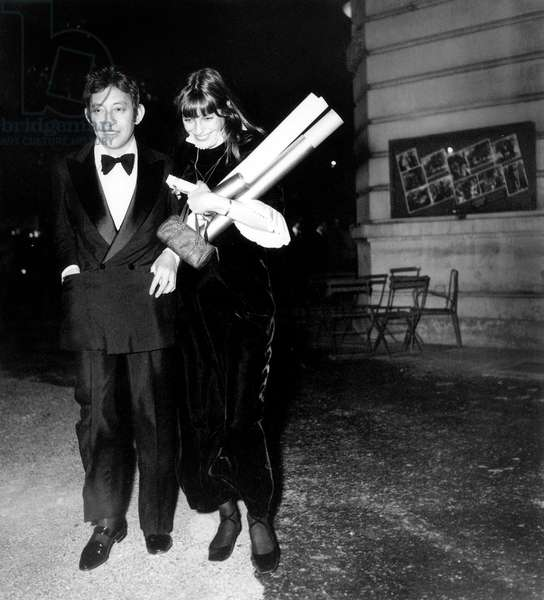 "Serge Gainsbourg and Jane Birkin at the Premiere of the film ""Morte a Venezia"", 27 May 1971 (photo)"