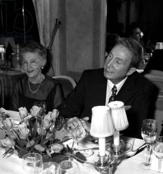 Charles Trenet with his mother Marie Louise Caussat at a restaurant in Paris, c. 1971 (photo)