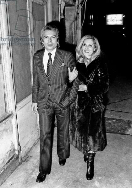 Dalida with her Lover Richard Chamfray Count of Saint Germain after a Party at Michou's, Paris, 4 December 1975 (photo)