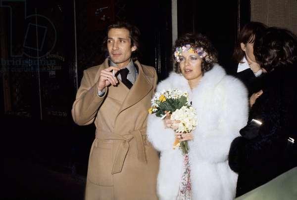 Romy Schneider and Daniel Biasini celebrating their Wedding in Paris, 19 December 1975 (photo)