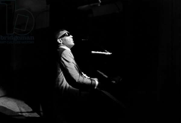 Jazz and Blues Singer and Pianist Ray Charles Singing at The Olympia August 6Th 1964 (b/w photo)