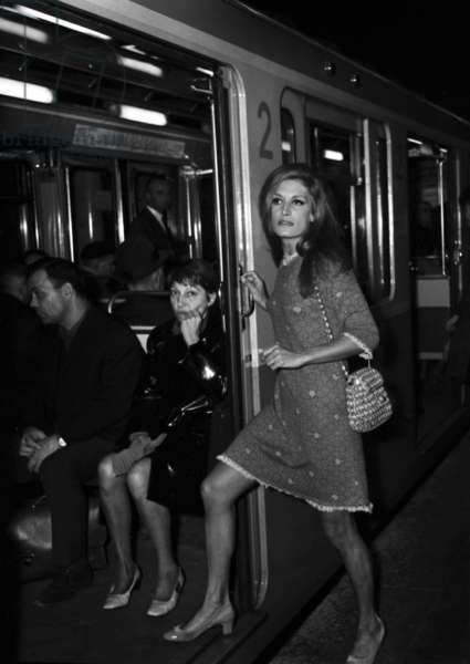 French Singer Dalida in subway, Paris, 29 October 1968 (photo)