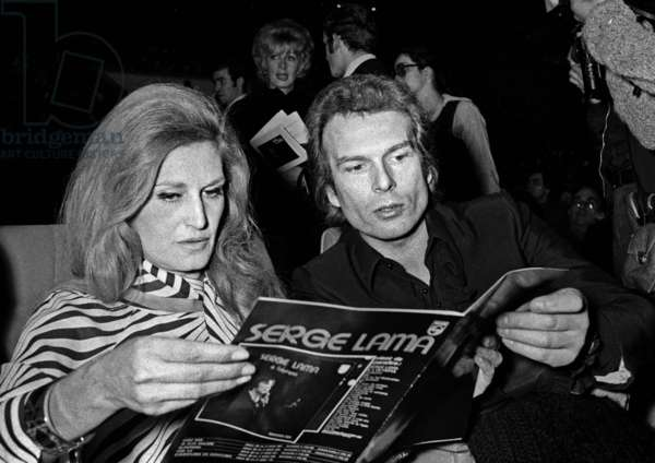 Dalida and Richard Chanfray at the Premiere of SergeLama, Paris, 16 January 1975 (photo)