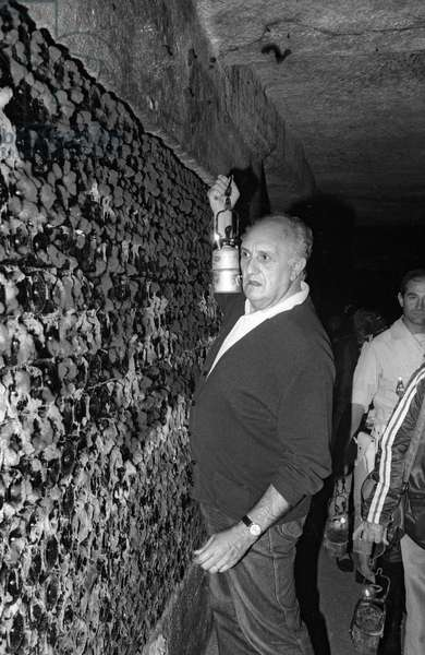 Pierre Tchernia at time of grape harvest in Libourne, France, September 1986 (b/w photo)