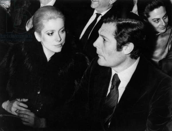 Catherine Deneuve and Marcello Mastroianni at Premiere of Show By Michellegrand and Caterinavalente at The Olympia in Paris on January 20, 1972 (b/w photo)