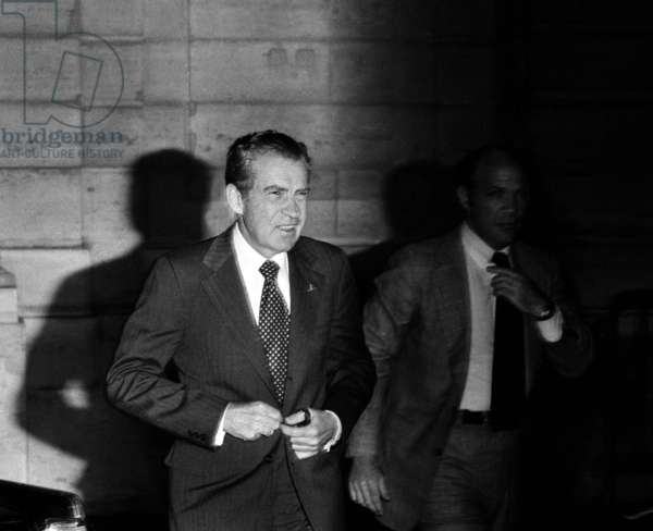 American President Richard Nixon arriving, Paris, for funeral of Georges Pompidou in Paris, April 6, 1974 (photo)
