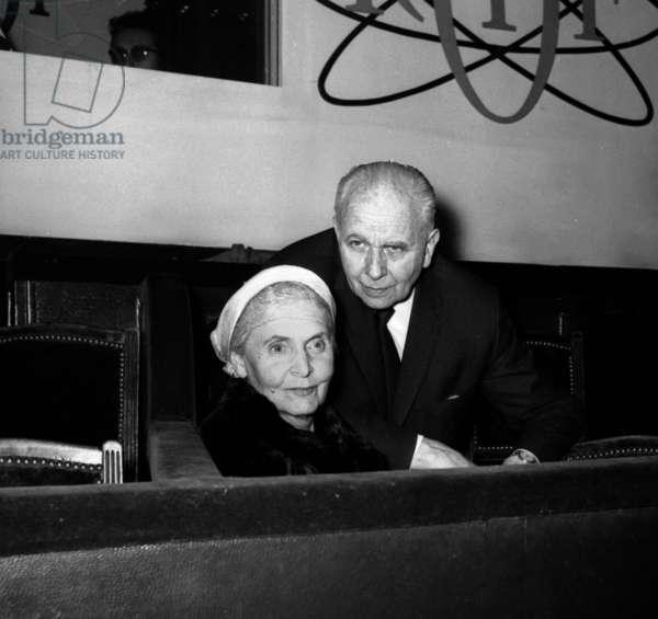 Louis Aragon and Elsa Triolet, at concert of singer Serge Reggiani, Paris, 8th February 1968 (b/w photo)