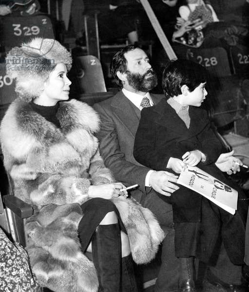 Marie Jose Nat with her husband Michel Drach and their son David at the Moscow circus premiere, November 23, 1973 neg: A80533PLCZ (b/w photo)