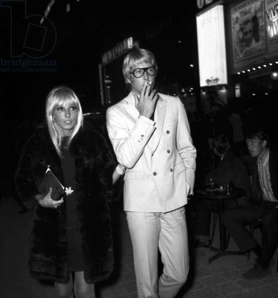 """Dany Saval and her young american boyfriend Eddie Garner at the Premiere of the film """"Live for Life"""", Paris, 13 September 1967 (photo)"""