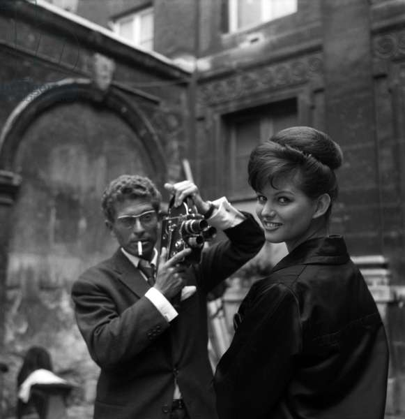 """Darry Cowl and Claudia Cardinale on the set of the film """"The Lions Are Loose"""", 1961 (photo)"""