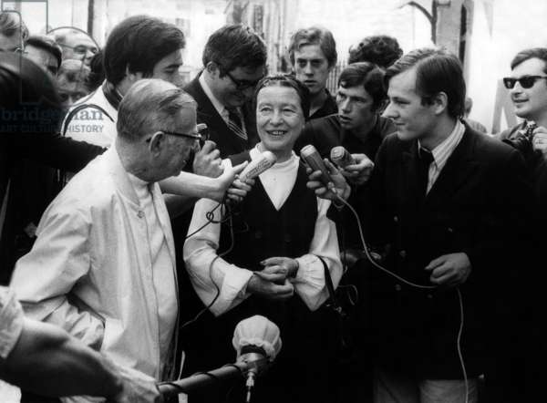 Jean Paul Sartre and Simone De Beauvoir , Among Journalists, When Released From Police Station in Paris After Being Arrested Because They Distributed