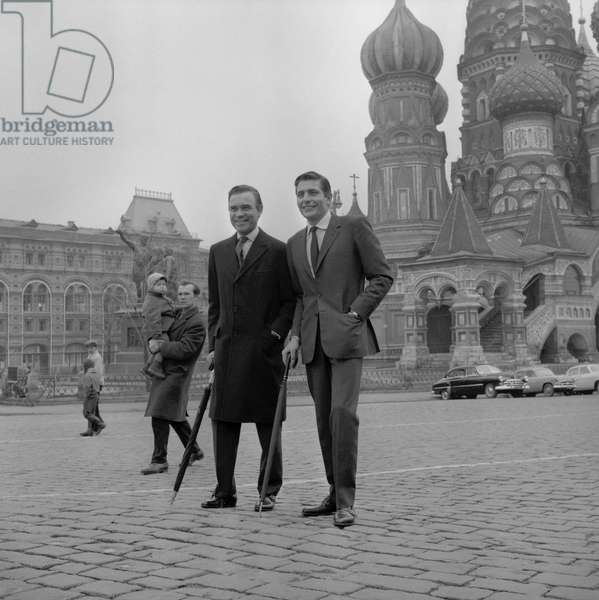 Porfirio Rubirosa, Italian diplomat and playboy, with Gunther Sachs on red square in Moscow on April 24, 1965