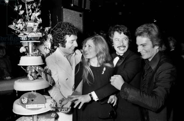 """Count of Saint Germain (Richard Chanfray) during the celebrating for Dalida's """"Oscar"""", Paris, 13 January 1975 (photo)"""