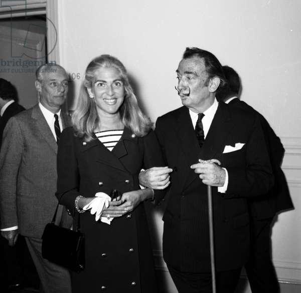 Baron Guy de Rothschild and his wife Marie-Helene with Salvador Dali for radio program