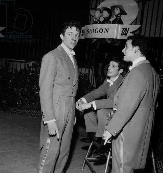 French Actors Jean-Pierre Cassel, Jean-Paul Belmondo and Claude Brasseur at the Gala of Artists, Paris, 8 March 1962 (photo)