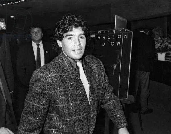 Soccer Diego Maradona at the Ballon d'Or ceremony, Paris, October 1985 (photo)