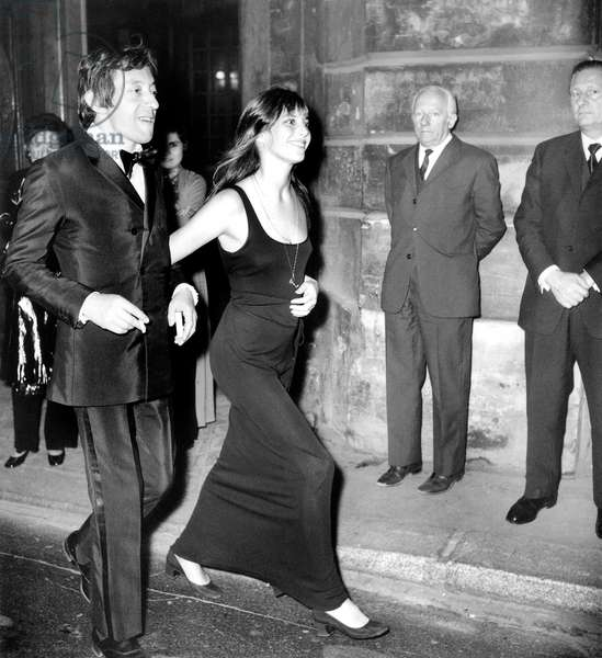 Serge Gainsbourg and Jane Birkin going to a party at Maxim's Restaurant, Paris, 28 May, 1970 (photo)
