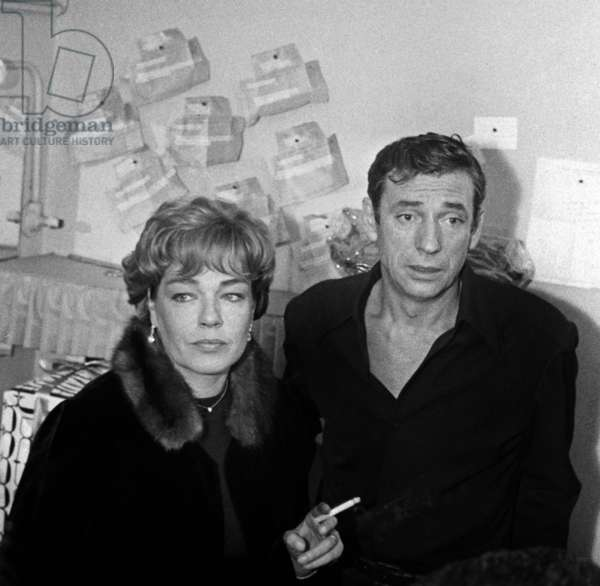 Simone Signoret and Yves Montand after his show in Paris, 13 November 1962 (photo)