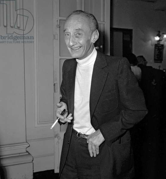 "Jacques-Yves Cousteau at premiere of play ""Hadrien VII"" at the Theatre de Paris, September 23, 1970 (b/w photo)"