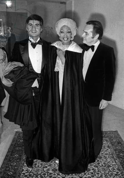 Josephine Baker with Jean-Claude Brialy at the Gala for the music hall career of Josephine Baker, Paris, 9 April 1975 (photo)